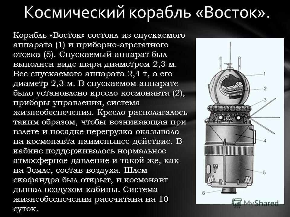 Корабль «Восток» состоял из спускаемого аппарата (1) и приборно-агрегатного отсека (5). Спускаемый аппарат был выполнен виде шара диаметром 2,3 м. Вес спускаемого аппарата 2,4 т, а его диаметр 2,3 м. В спускаемом аппарате было установлено кресло косм