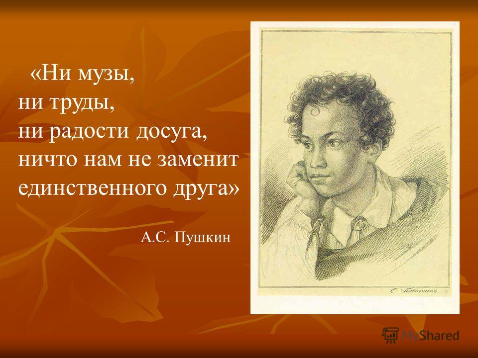 «Ни музы, ни труды, ни радости досуга, ничто нам не заменит единственного друга» А.С. Пушкин