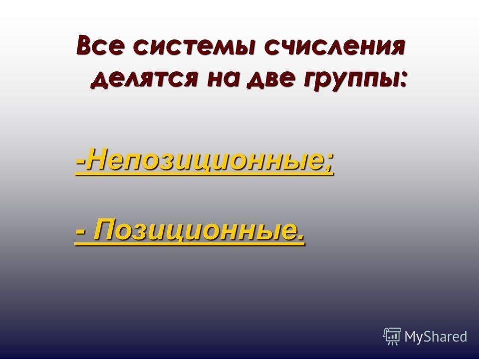 Все системы счисления делятся на две группы: -Непозиционные; - Позиционные. - Позиционные.