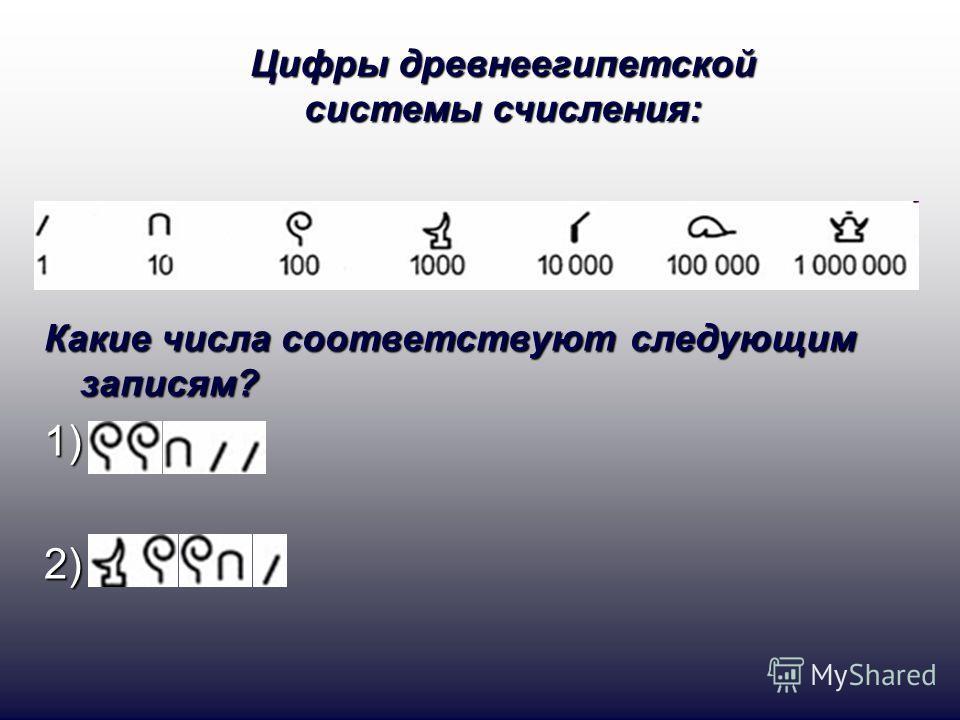 Какие числа соответствуют следующим записям? 1)2) Цифры древнеегипетской системы счисления: