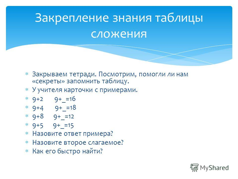 Закрываем тетради. Посмотрим, помогли ли нам «секреты» запомнить таблицу. У учителя карточки с примерами. 9+2 9+_=16 9+4 9+_=18 9+8 9+_=12 9+5 9+_=15 Назовите ответ примера? Назовите второе слагаемое? Как его быстро найти? Закрепление знания таблицы