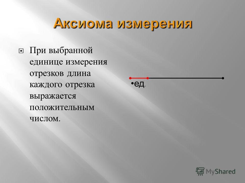 При в ыбранной единице и змерения отрезков д лина каждого о трезка выражается положительным числом. ед.