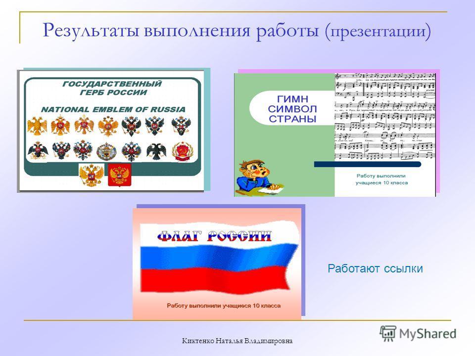 Результаты выполнения работы ( презентации ) Киктенко Наталья Владимировна Работают ссылки