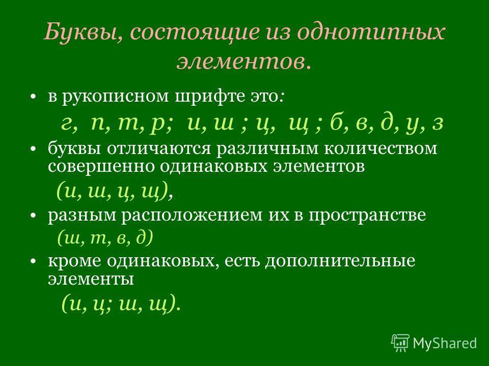 Буквы, состоящие из однотипных элементов. в рукописном шрифте это: г, п, т, р; и, ш ; ц, щ ; б, в, д, у, з буквы отличаются различным количеством совершенно одинаковых элементов (и, ш, ц, щ), разным расположением их в пространстве (ш, т, в, д) кроме