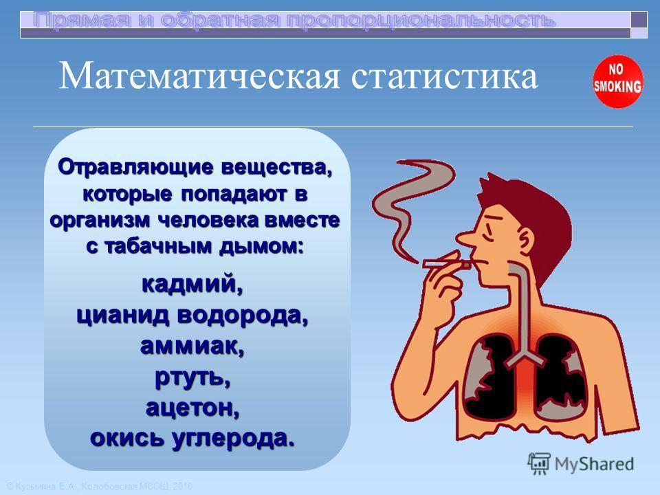 Отравляющие вещества, которые попадают в организм человека вместе с табачным дымом: Математическая статистика © Кузьмина Е.А., Колобовская МСОШ, 2010 кадмий, цианид водорода, аммиак,ртуть,ацетон, окись углерода.