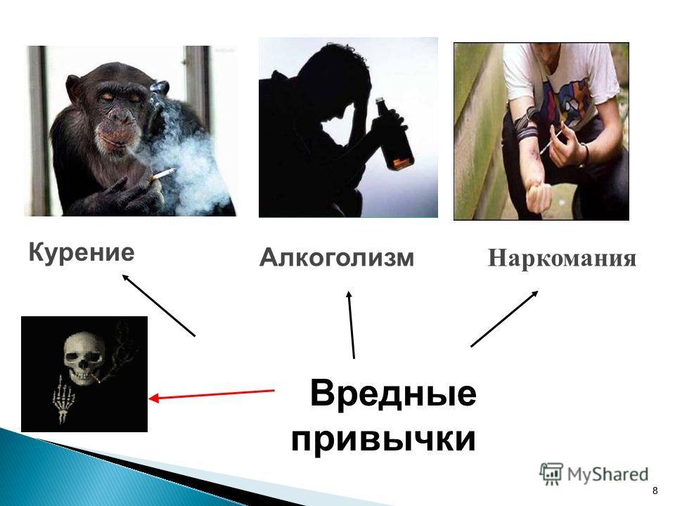 8 8 Вредные привычки Курение Алкоголизм Наркомания