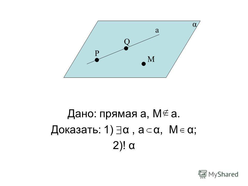 Дано: прямая а, М a. Доказать: 1) α, а α, М α; 2)! α P Q a М α