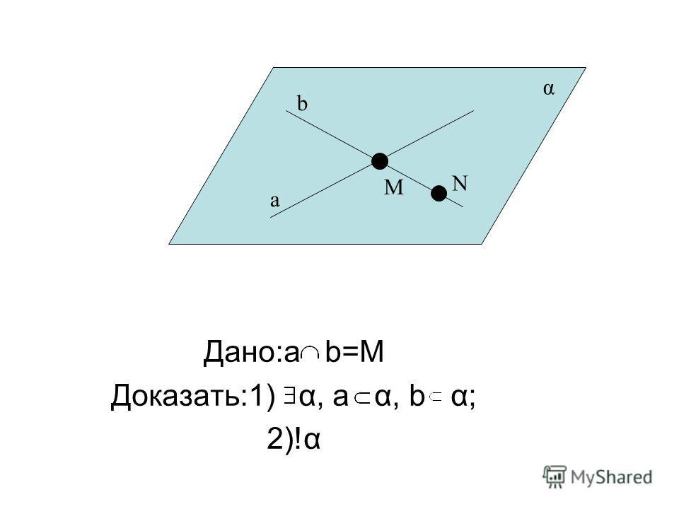 Дано:a b=M Доказать:1) α, а α, b α; 2)!α a b M N α