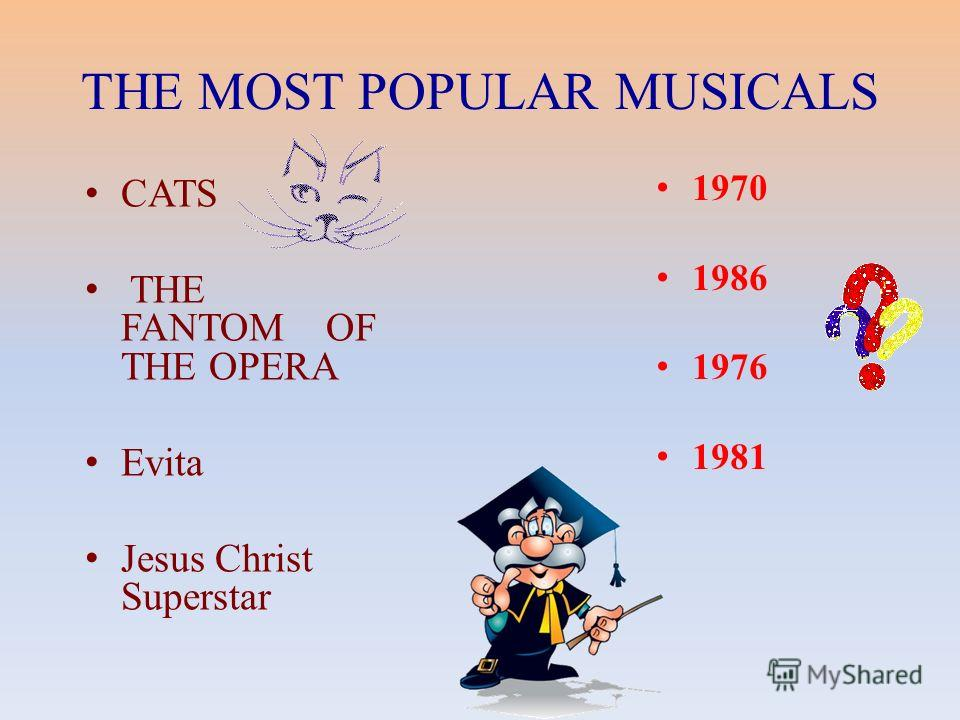 THE MOST POPULAR MUSICALS CATS THE FANTOM OF THE OPERA Evita Jesus Christ Superstar 1970 1986 1976 1981