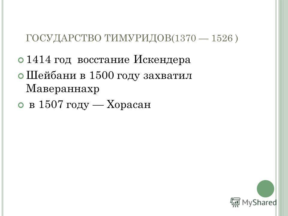 ГОСУДАРСТВО ТИМУРИДОВ(1370 1526 ) 1414 год восстание Искендера Шейбани в 1500 году захватил Мавераннахр в 1507 году Хорасан