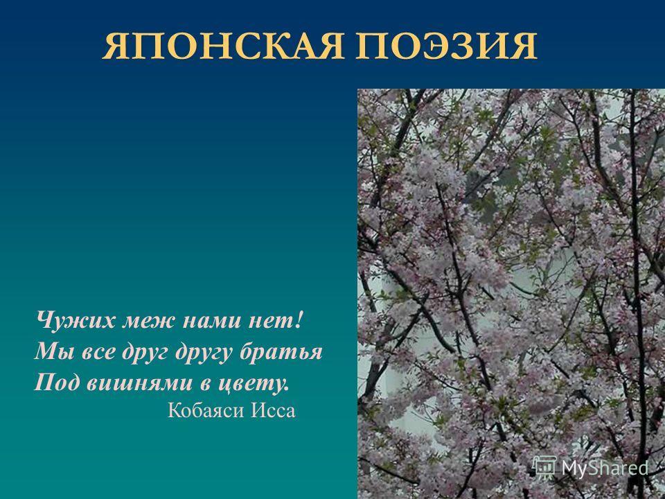 Чужих меж нами нет! Мы все друг другу братья Под вишнями в цвету. Кобаяси Исса ЯПОНСКАЯ ПОЭЗИЯ