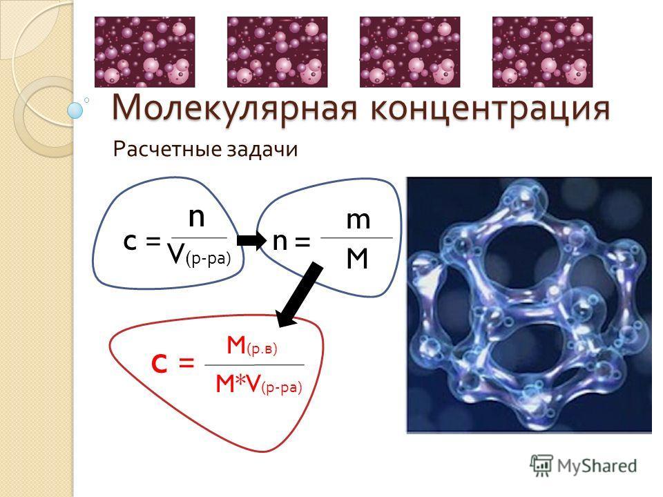 Молекулярная концентрация Расчетные задачи c = n V ( р-ра) n = m M c = M (р.в) M*V (р-ра)