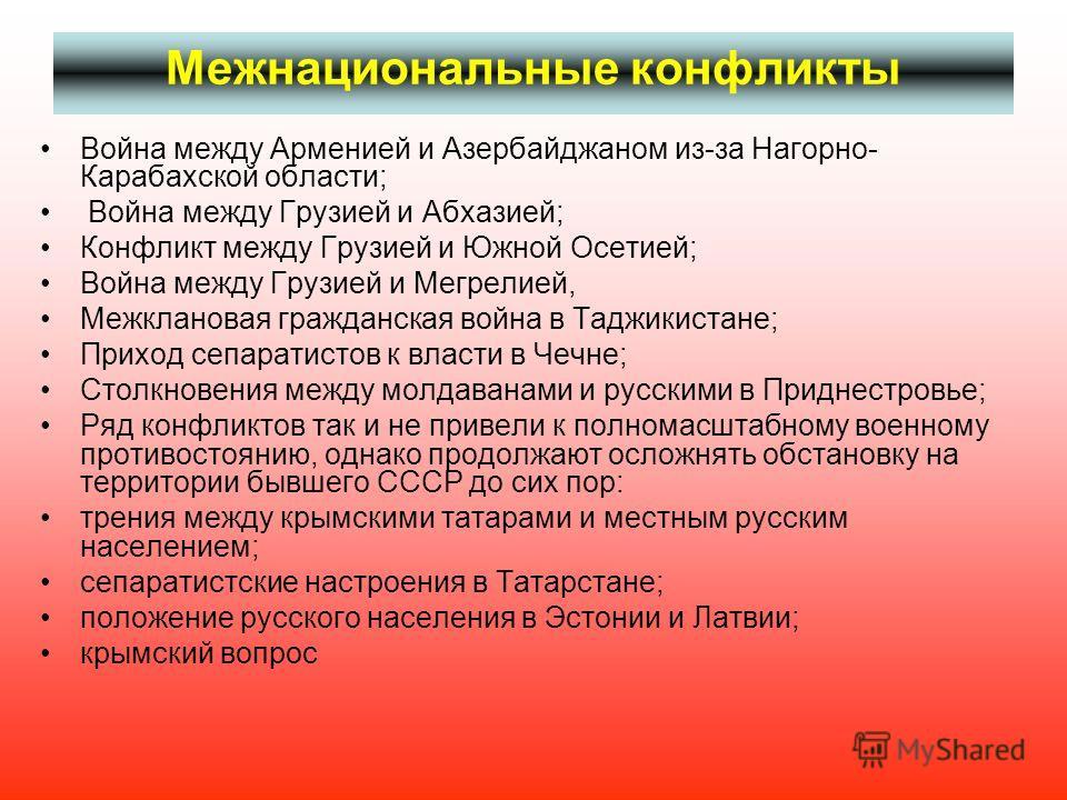 Межнациональные конфликты Война между Арменией и Азербайджаном из-за Нагорно- Карабахской области; Война между Грузией и Абхазией; Конфликт между Грузией и Южной Осетией; Война между Грузией и Мегрелией, Межклановая гражданская война в Таджикистане;