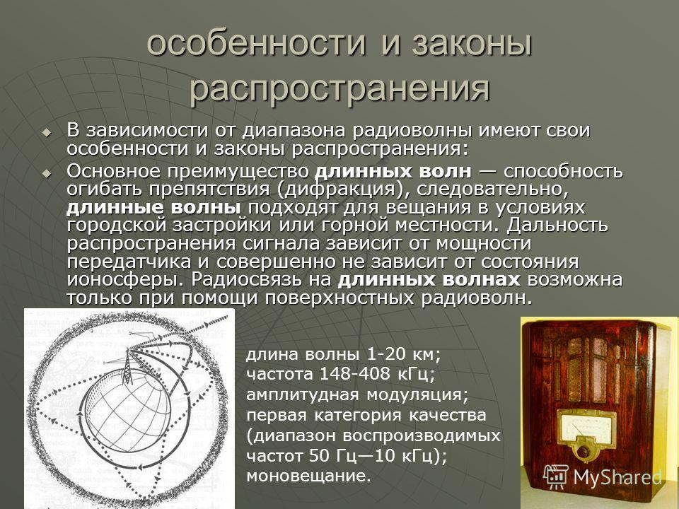 особенности и законы распространения В зависимости от диапазона радиоволны имеют свои особенности и законы распространения: В зависимости от диапазона радиоволны имеют свои особенности и законы распространения: Основное преимущество длинных волн спос