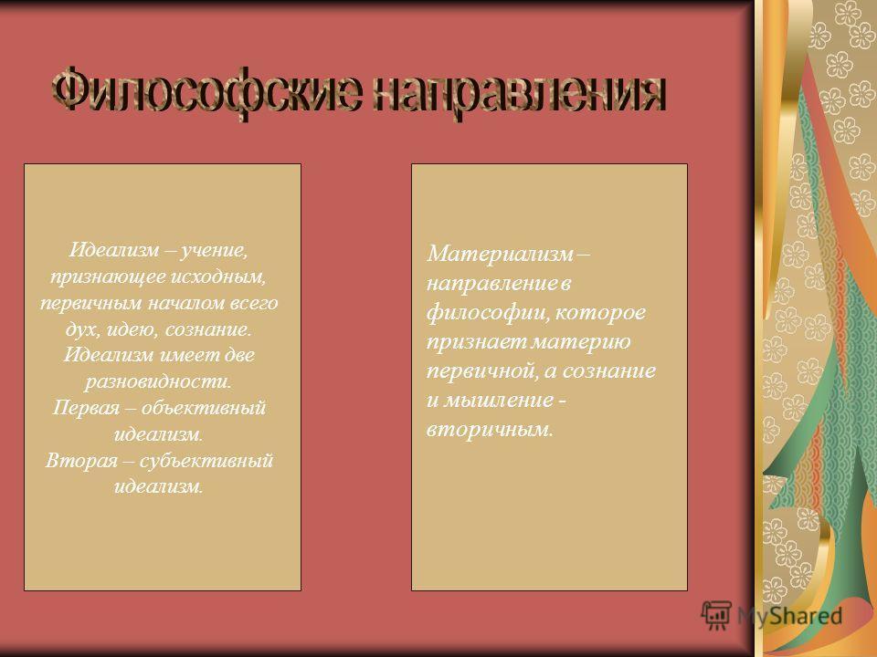 Идеализм – учение, признающее исходным, первичным началом всего дух, идею, сознание. Идеализм имеет две разновидности. Первая – объективный идеализм. Вторая – субъективный идеализм. Материализм – направление в философии, которое признает материю перв