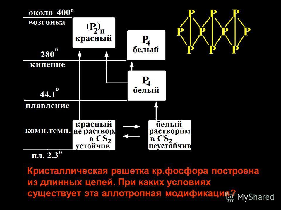 Кристаллическая решетка кр.фосфора построена из длинных цепей. При каких условиях существует эта аллотропная модификация?
