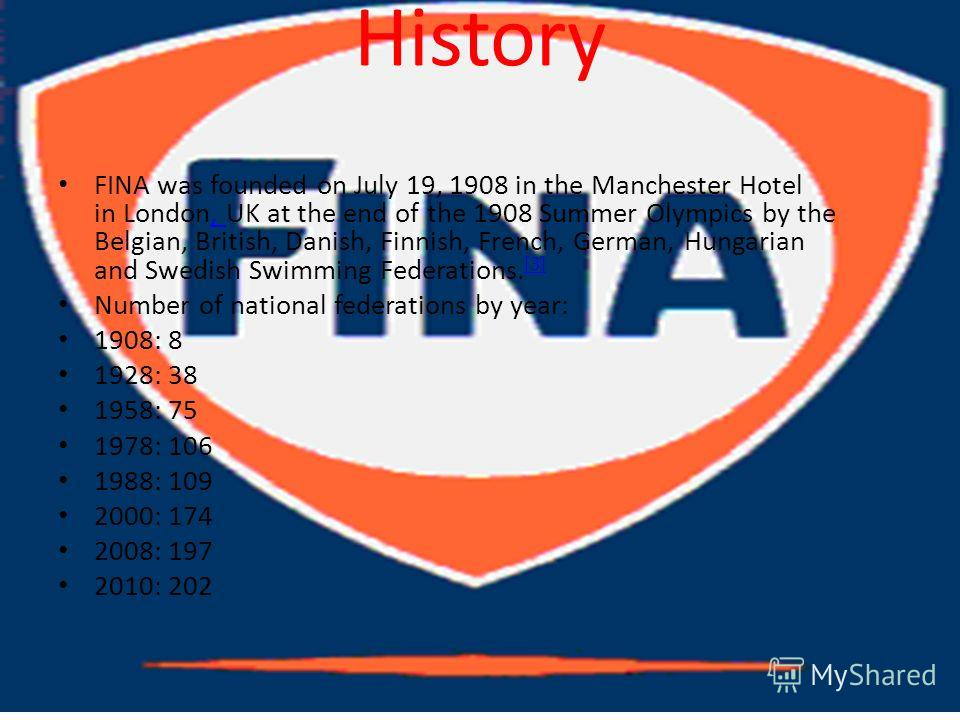 History FINA was founded on July 19, 1908 in the Manchester Hotel in London, UK at the end of the 1908 Summer Olympics by the Belgian, British, Danish, Finnish, French, German, Hungarian and Swedish Swimming Federations. [3], [3] Number of national f