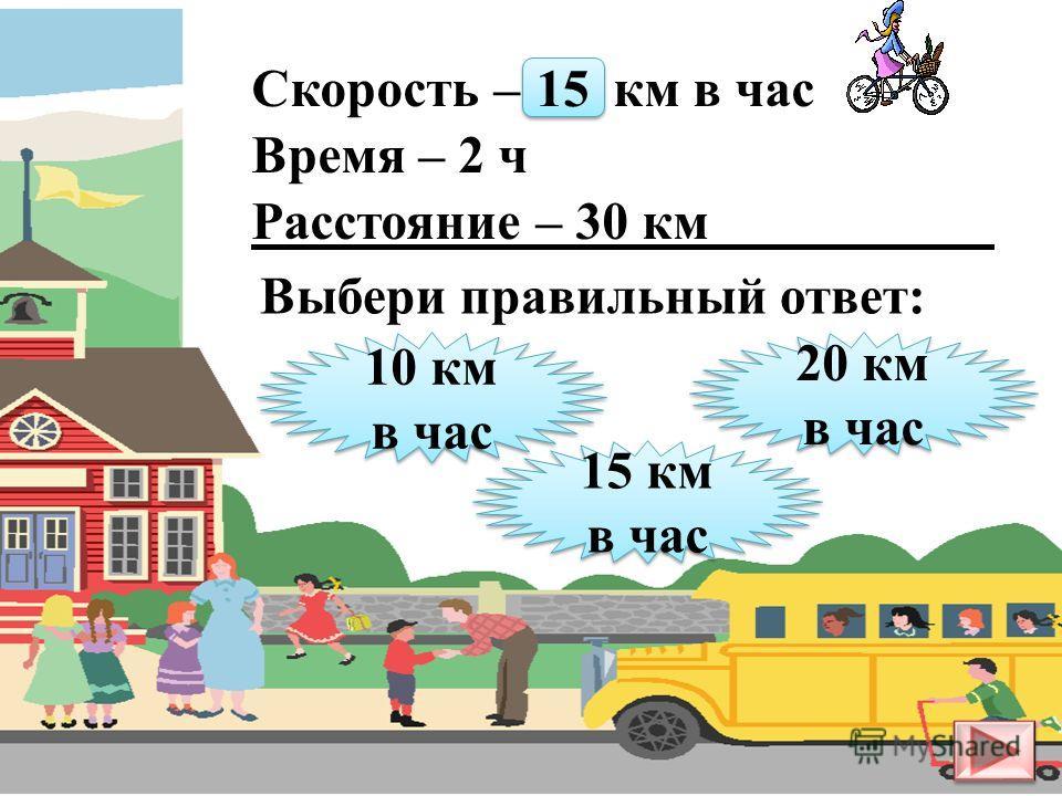 Скорость – 20 км в час Время – 3 ч Расстояние – ? км 50 км 50 км 60 км 60 км 80 км 80 км Выбери правильный ответ: 60