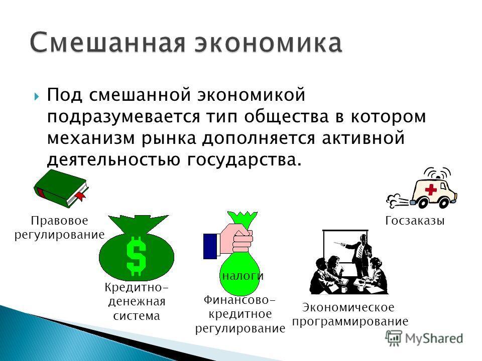 Под смешанной экономикой подразумевается тип общества в котором механизм рынка дополняется активной деятельностью государства. Правовое регулирование Госзаказы налоги Финансово- кредитное регулирование Кредитно- денежная система Экономическое програм