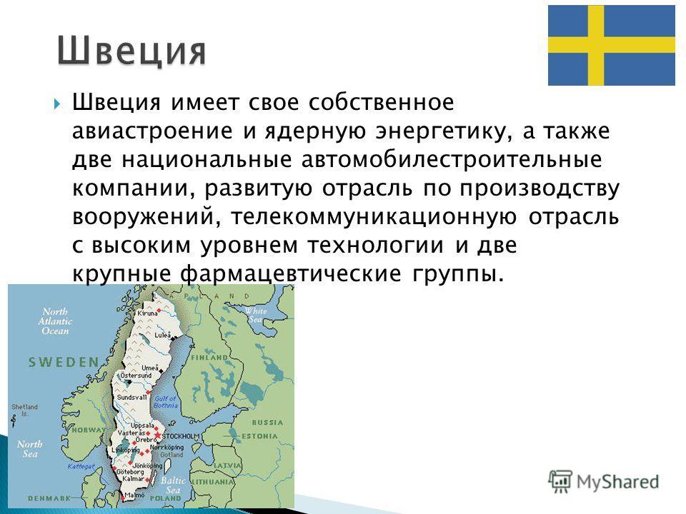 Швеция имеет свое собственное авиастроение и ядерную энергетику, а также две национальные автомобилестроительные компании, развитую отрасль по производству вооружений, телекоммуникационную отрасль с высоким уровнем технологии и две крупные фармацевти