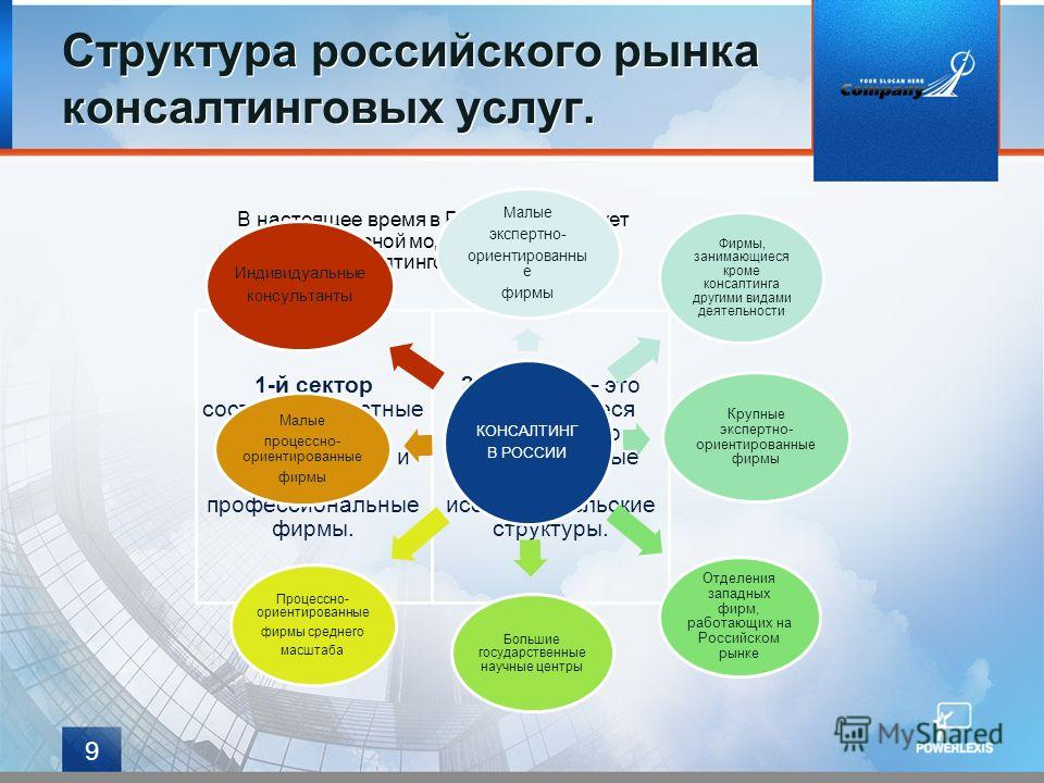 Структура российского рынка консалтинговых услуг. 9 В настоящее время в России существует двухсекторной моделью экономики консалтинговых услуг. 1-й сектор составляют частные независимые консалтинговые и другие профессиональные фирмы. 2-й сектор – это
