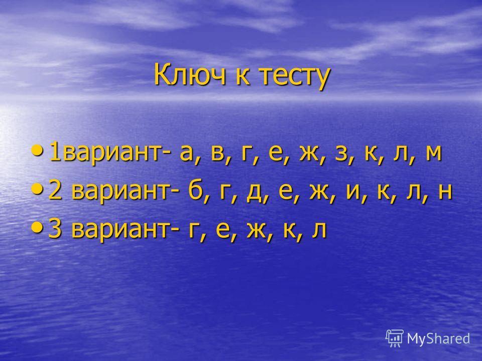 Ключ к тесту 1вариант- а, в, г, е, ж, з, к, л, м 1вариант- а, в, г, е, ж, з, к, л, м 2 вариант- б, г, д, е, ж, и, к, л, н 2 вариант- б, г, д, е, ж, и, к, л, н 3 вариант- г, е, ж, к, л 3 вариант- г, е, ж, к, л