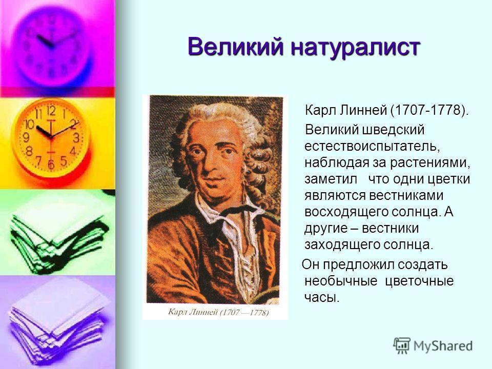 Великий натуралист Карл Линней (1707-1778). Карл Линней (1707-1778). Великий шведский естествоиспытатель, наблюдая за растениями, заметил что одни цветки являются вестниками восходящего солнца. А другие – вестники заходящего солнца. Великий шведский
