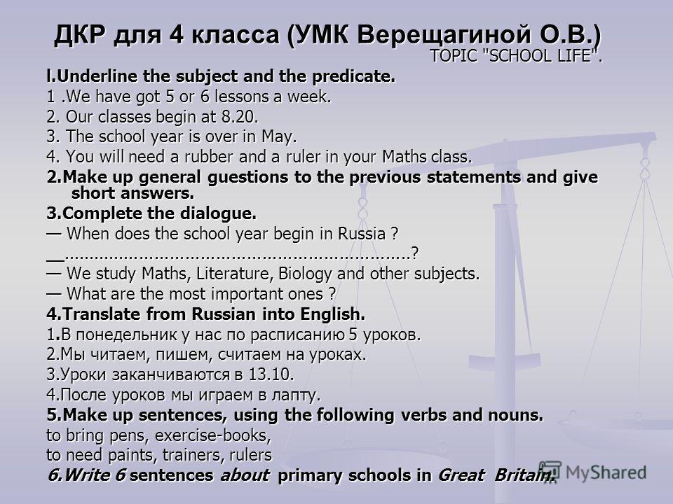 ДКР для 4 класса (УМК Верещагиной О.В.) TOPIC