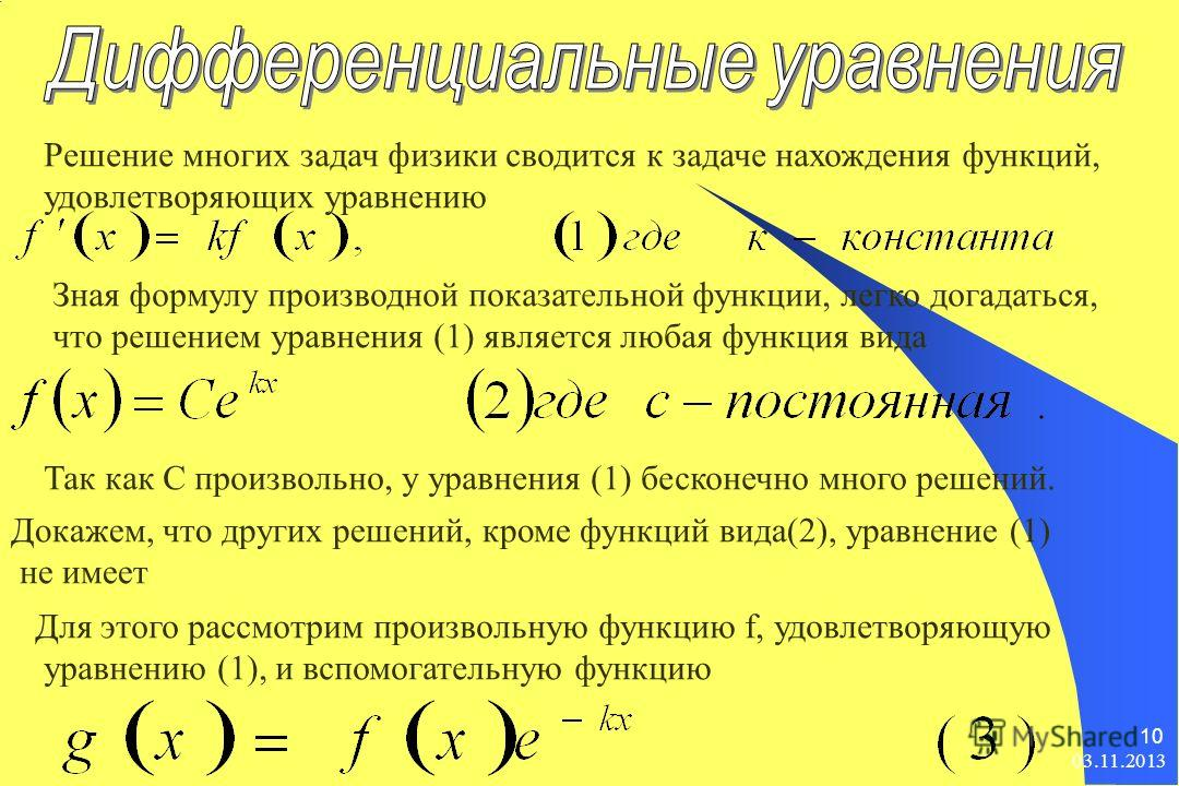 03.11.2013 10 Решение многих задач физики сводится к задаче нахождения функций, удовлетворяющих уравнению Зная формулу производной показательной функции, легко догадаться, что решением уравнения (1) является любая функция вида Так как С произвольно,