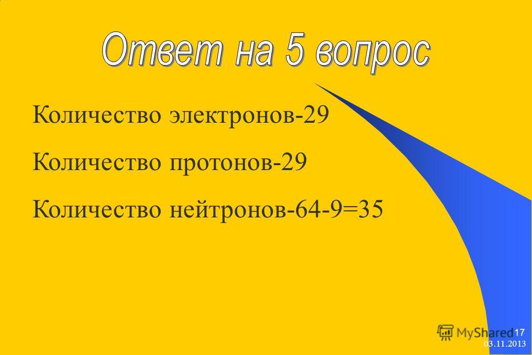 03.11.2013 17 Количество электронов-29 Количество протонов-29 Количество нейтронов-64-9=35