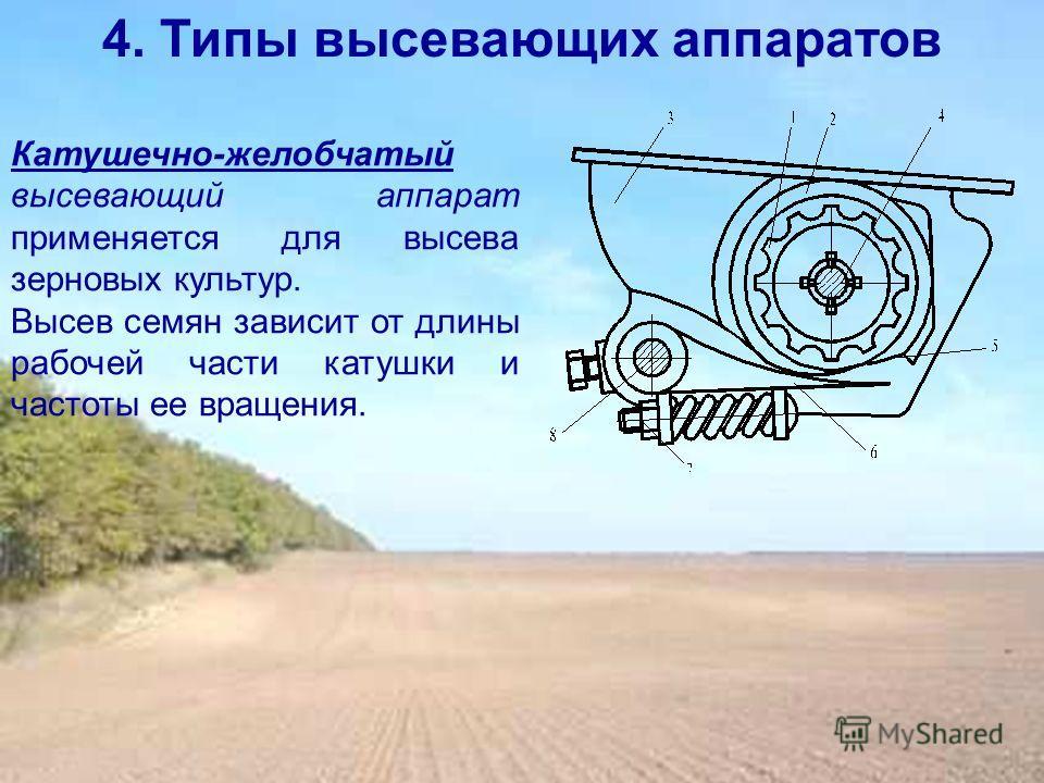 4. Типы высевающих аппаратов Катушечно-желобчатый высевающий аппарат применяется для высева зерновых культур. Высев семян зависит от длины рабочей части катушки и частоты ее вращения.