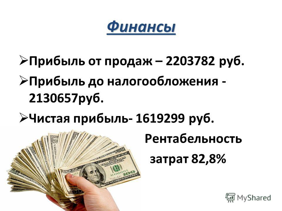 Финансы Прибыль от продаж – 2203782 руб. Прибыль до налогообложения - 2130657руб. Чистая прибыль- 1619299 руб. Р Рентабельность затрат 82,8%