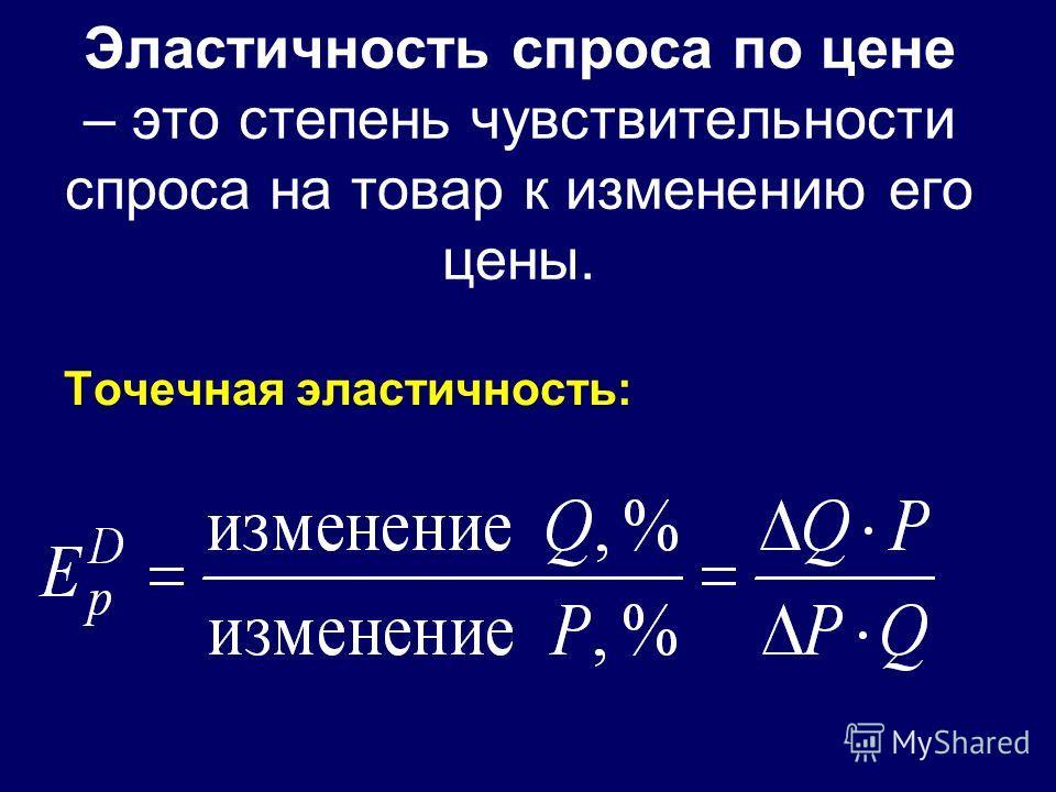 Эластичность спроса по цене – это степень чувствительности спроса на товар к изменению его цены. Точечная эластичность: