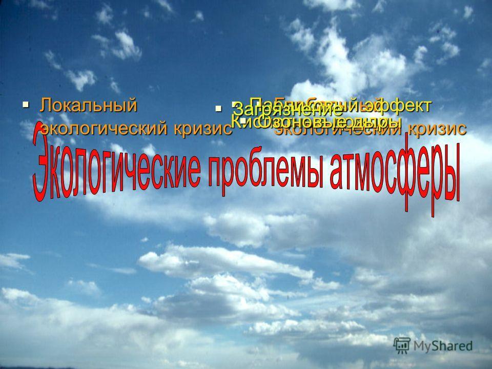 Локальный экологический кризис Локальный экологический кризис Глобальный экологический кризис Глобальный экологический кризис Кислотные дожди Парниковый эффект Парниковый эффект Озоновые дыры Озоновые дыры Загрязнение Загрязнение