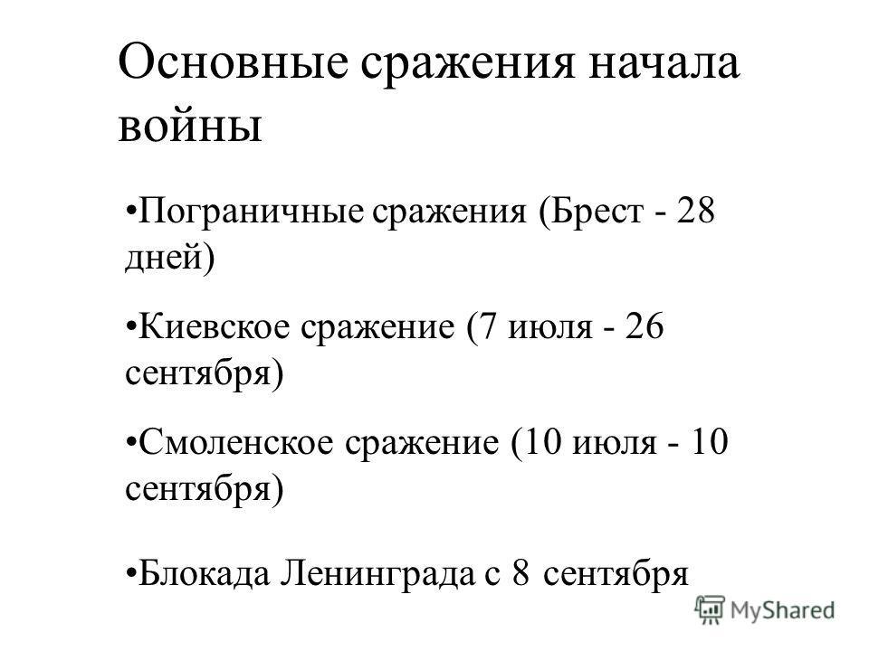 Основные сражения начала войны Пограничные сражения (Брест - 28 дней) Киевское сражение (7 июля - 26 сентября) Смоленское сражение (10 июля - 10 сентября) Блокада Ленинграда с 8 сентября