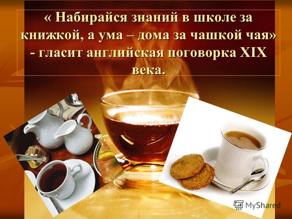 « Набирайся знаний в школе за книжкой, а ума – дома за чашкой чая» - гласит английская поговорка XIX века.