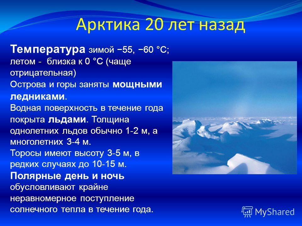 Арктика 20 лет назад Температура зимой 55, 60 °C; летом - близка к 0 °C (чаще отрицательная) Острова и горы заняты мощными ледниками. Водная поверхность в течение года покрыта льдами. Толщина однолетних льдов обычно 1-2 м, а многолетних 3-4 м. Торосы