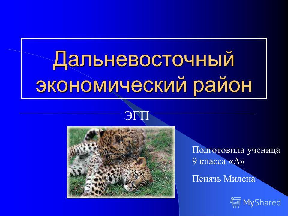 Дальневосточный экономический район ЭГП Подготовила ученица 9 класса «А» Пенязь Милена