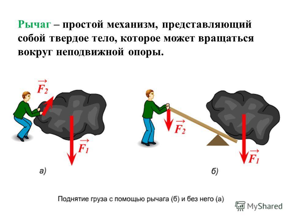 Рычаг – простой механизм, представляющий собой твердое тело, которое может вращаться вокруг неподвижной опоры.