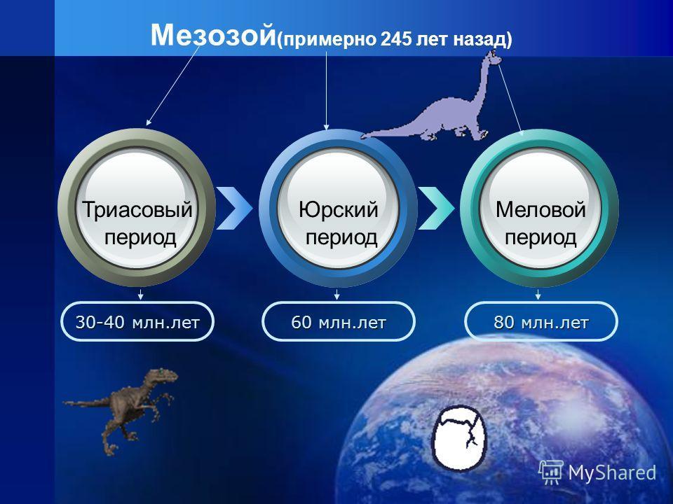 Мезозой (примерно 245 лет назад) 30-40 млн.лет 60 млн.лет 80 млн.лет Триасовый период Юрский период Меловой период