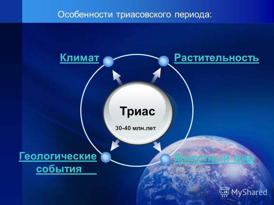 Особенности триасовского периода: Триас 30-40 млн.лет РастительностьКлимат Животный мир Геологические события