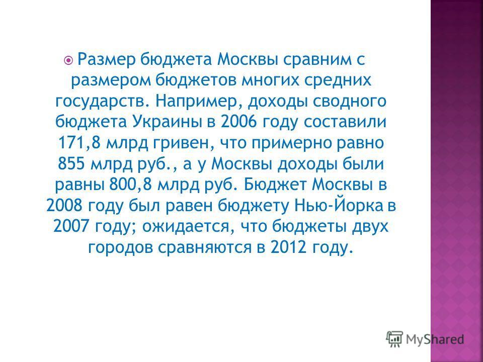 Размер бюджета Москвы сравним с размером бюджетов многих средних государств. Например, доходы сводного бюджета Украины в 2006 году составили 171,8 млрд гривен, что примерно равно 855 млрд руб., а у Москвы доходы были равны 800,8 млрд руб. Бюджет Моск