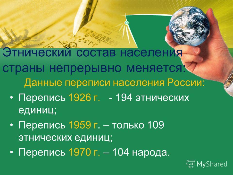 Этнический состав населения страны непрерывно меняется: Данные переписи населения России: Перепись 1926 г. - 194 этнических единиц; Перепись 1959 г. – только 109 этнических единиц; Перепись 1970 г. – 104 народа.