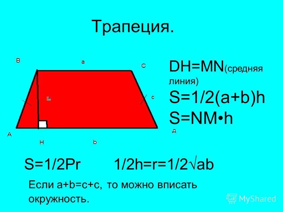 Трапеция. DH=MN (средняя линия) S=1/2(a+b)h S=NMh S=1/2Pr1/2h=r=1/2ab Если a+b=c+с, то можно вписать окружность.