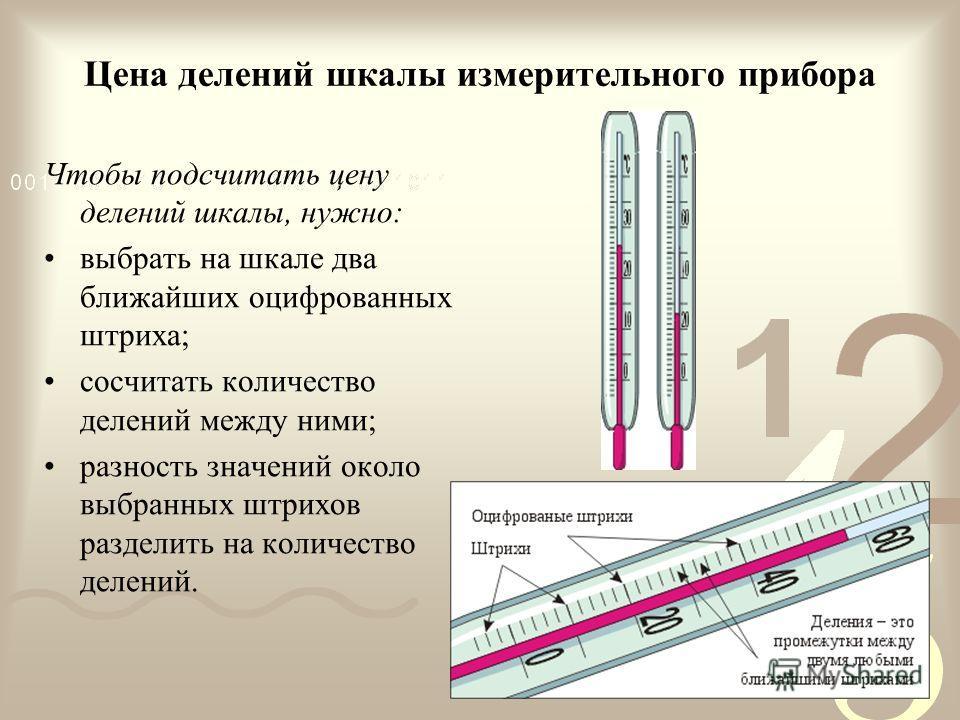 Цена делений шкалы измерительного прибора Чтобы подсчитать цену делений шкалы, нужно: выбрать на шкале два ближайших оцифрованных штриха; сосчитать количество делений между ними; разность значений около выбранных штрихов разделить на количество делен