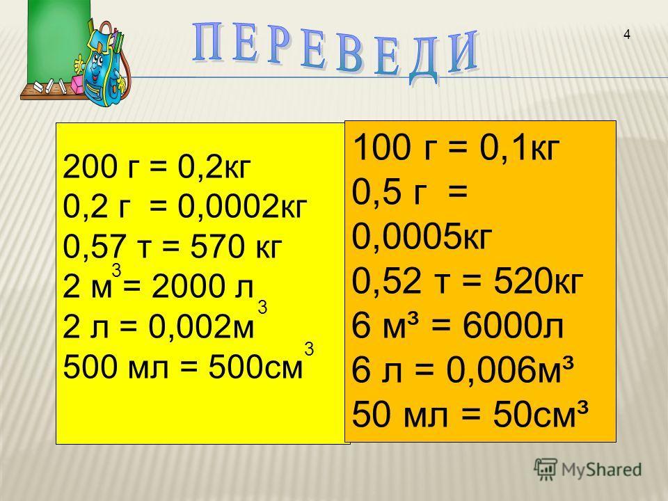 200 г = 0,2кг 0,2 г = 0,0002кг 0,57 т = 570 кг 2 м = 2000 л 2 л = 0,002м 500 мл = 500см 3 3 3 4 100 г = 0,1кг 0,5 г = 0,0005кг 0,52 т = 520кг 6 м³ = 6000л 6 л = 0,006м³ 50 мл = 50см³