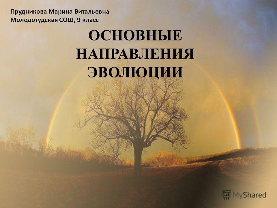 ОСНОВНЫЕ НАПРАВЛЕНИЯ ЭВОЛЮЦИИ Прудникова Марина Витальевна Молодотудская СОШ, 9 класс