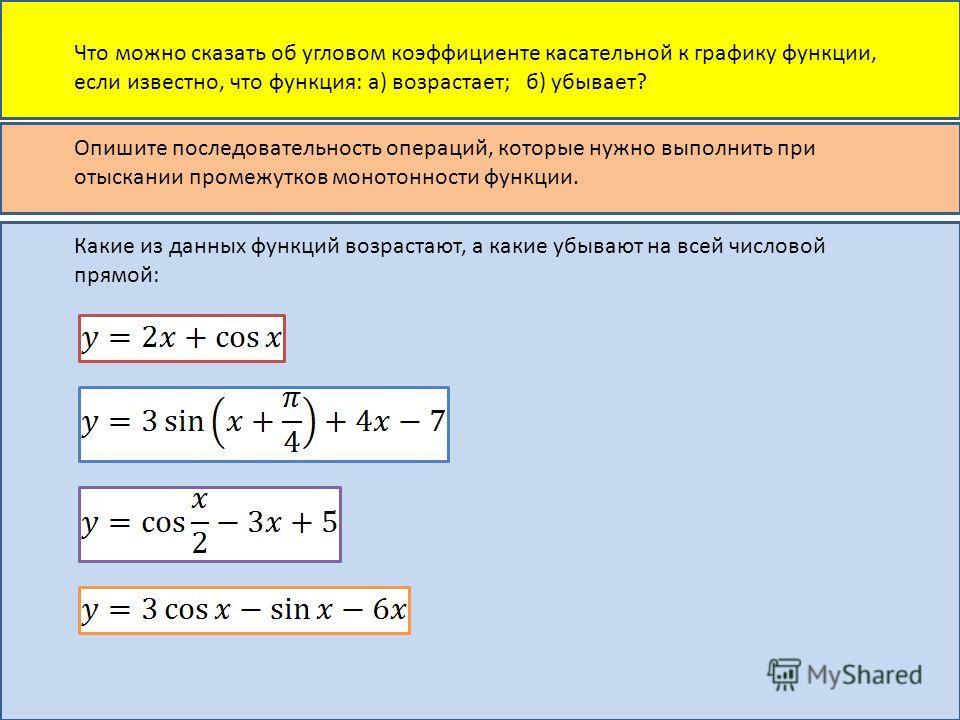 Что можно сказать об угловом коэффициенте касательной к графику функции, если известно, что функция: а) возрастает; б) убывает? Опишите последовательность операций, которые нужно выполнить при отыскании промежутков монотонности функции. Какие из данн