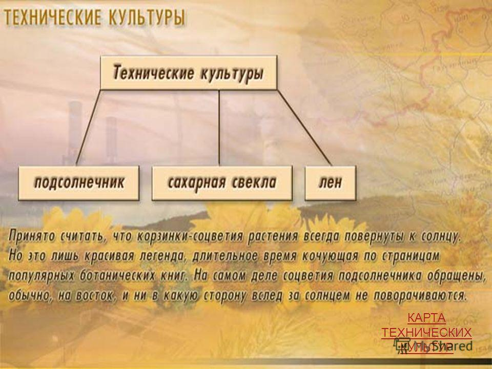 КАРТА ТЕХНИЧЕСКИХ КУЛЬТУР