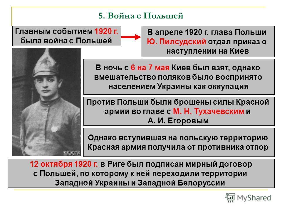 5. Война с Польшей Главным событием 1920 г. была война с Польшей В апреле 1920 г. глава Польши Ю. Пилсудский отдал приказ о наступлении на Киев В ночь с 6 на 7 мая Киев был взят, однако вмешательство поляков было воспринято населением Украины как окк